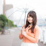 雨の様子を傘をさして伝える美人キャスター