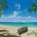 島の砂浜の絵